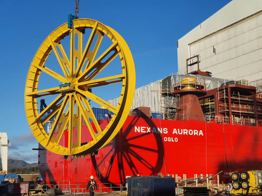 Lay Wheel on crane in front of vessel stern prior to installation